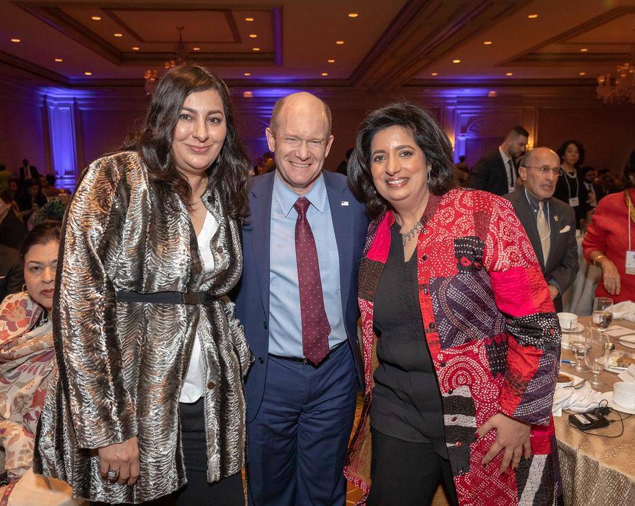 Senator Coons with Muslim Advocates Deputy Director Naheed Qureshi and President and Executive Director Farhana Khera